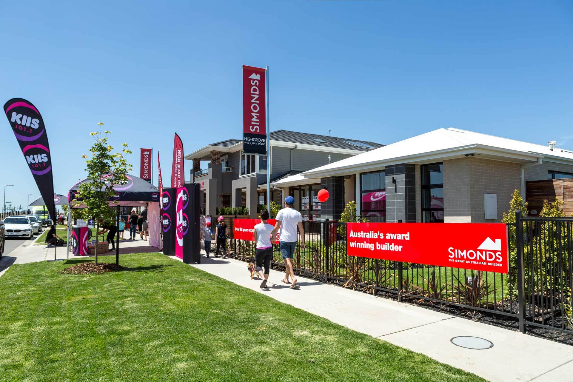 simonds building developer houses and kiis radio show at an outdoor public event for people to view new house builds and show homes