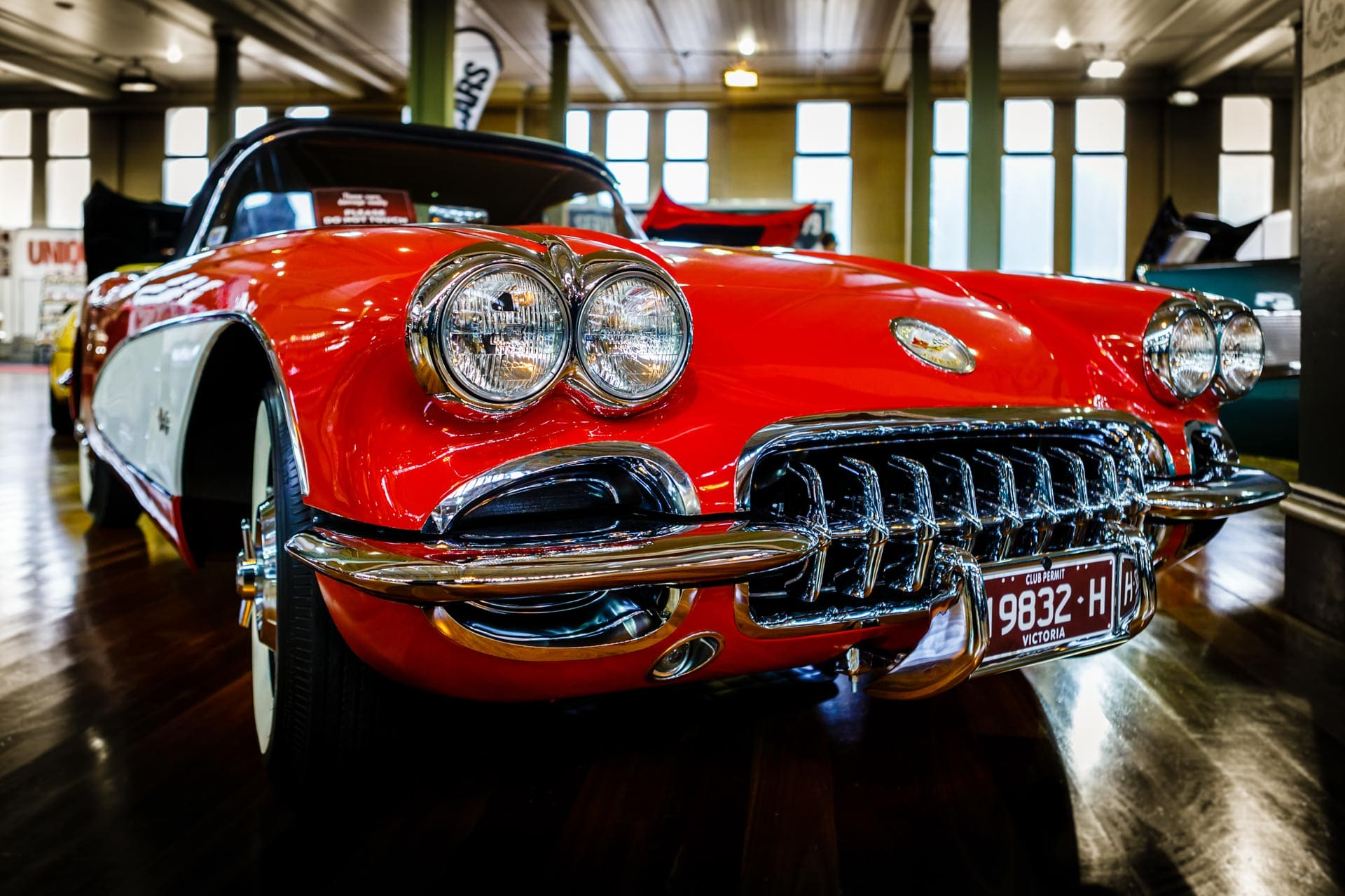 red corvette cabriolet classic car at motorclassico car show in melbourne