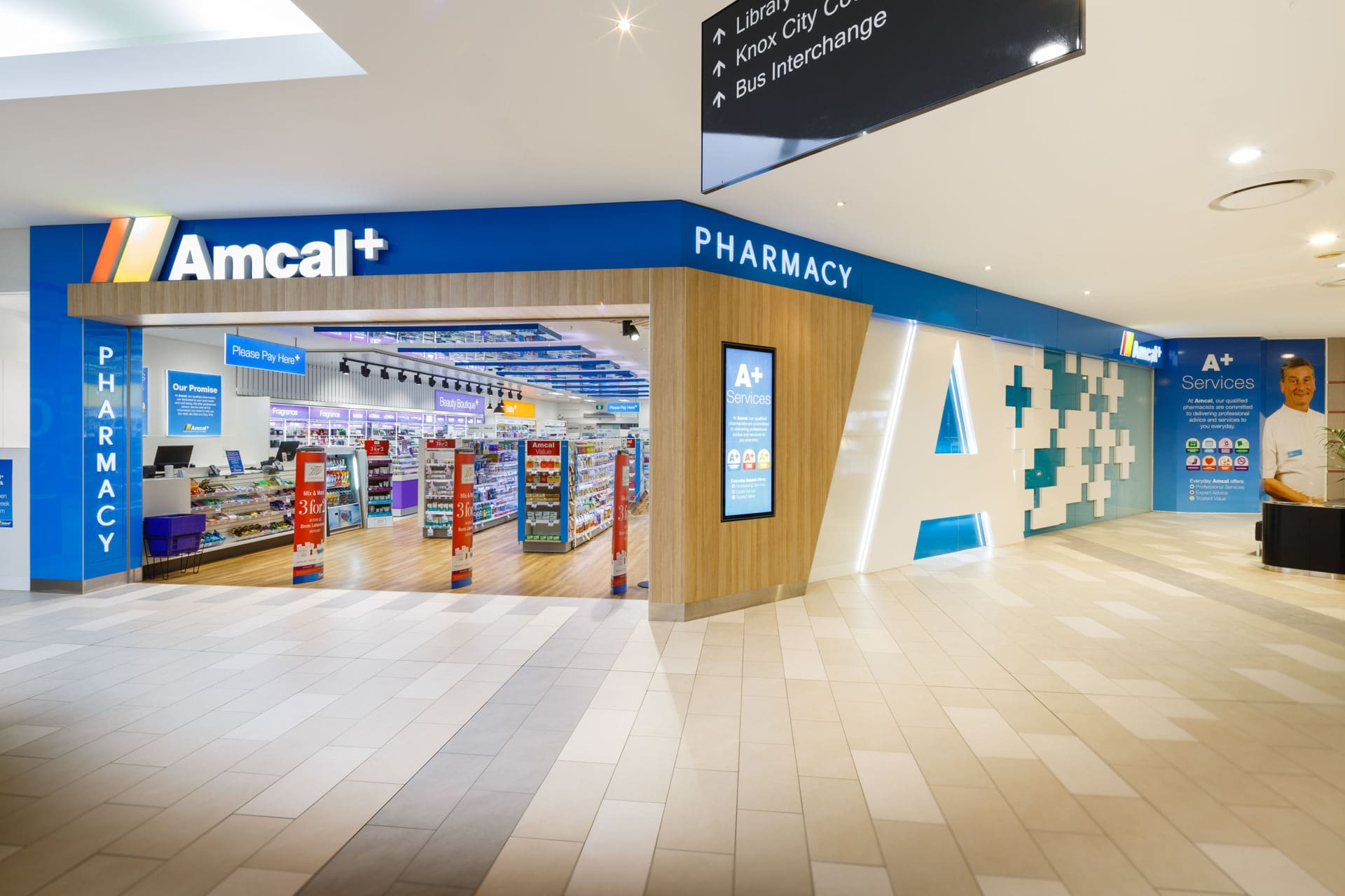 amcal+ pharmacy internal photograph of main entry area by sigma pharmaceuticals in stud park shopping centre