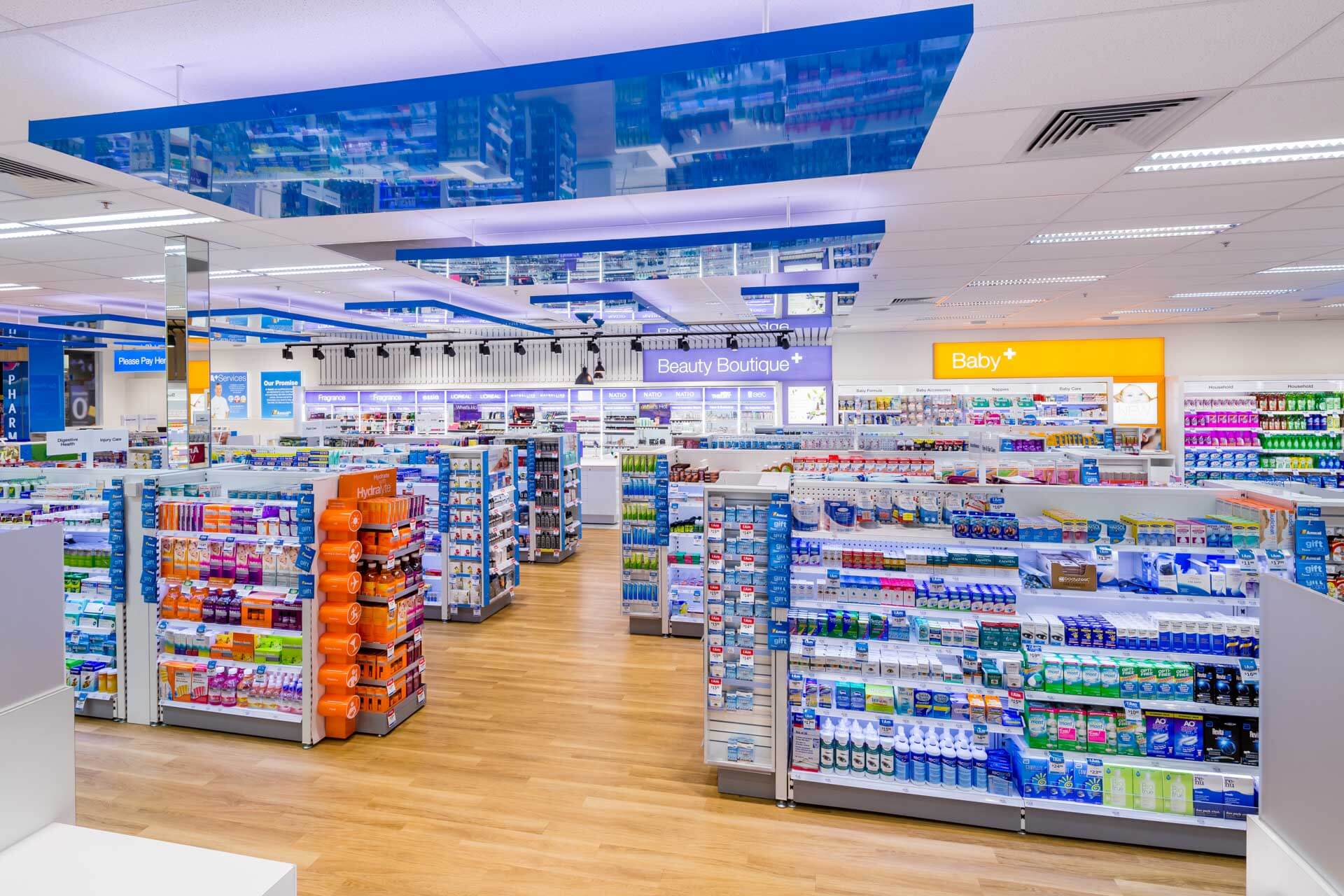 amcal+ pharmacy internal photograph of beauty Boutique and baby product area with overall store by sigma pharmaceuticals in stud park shopping centre