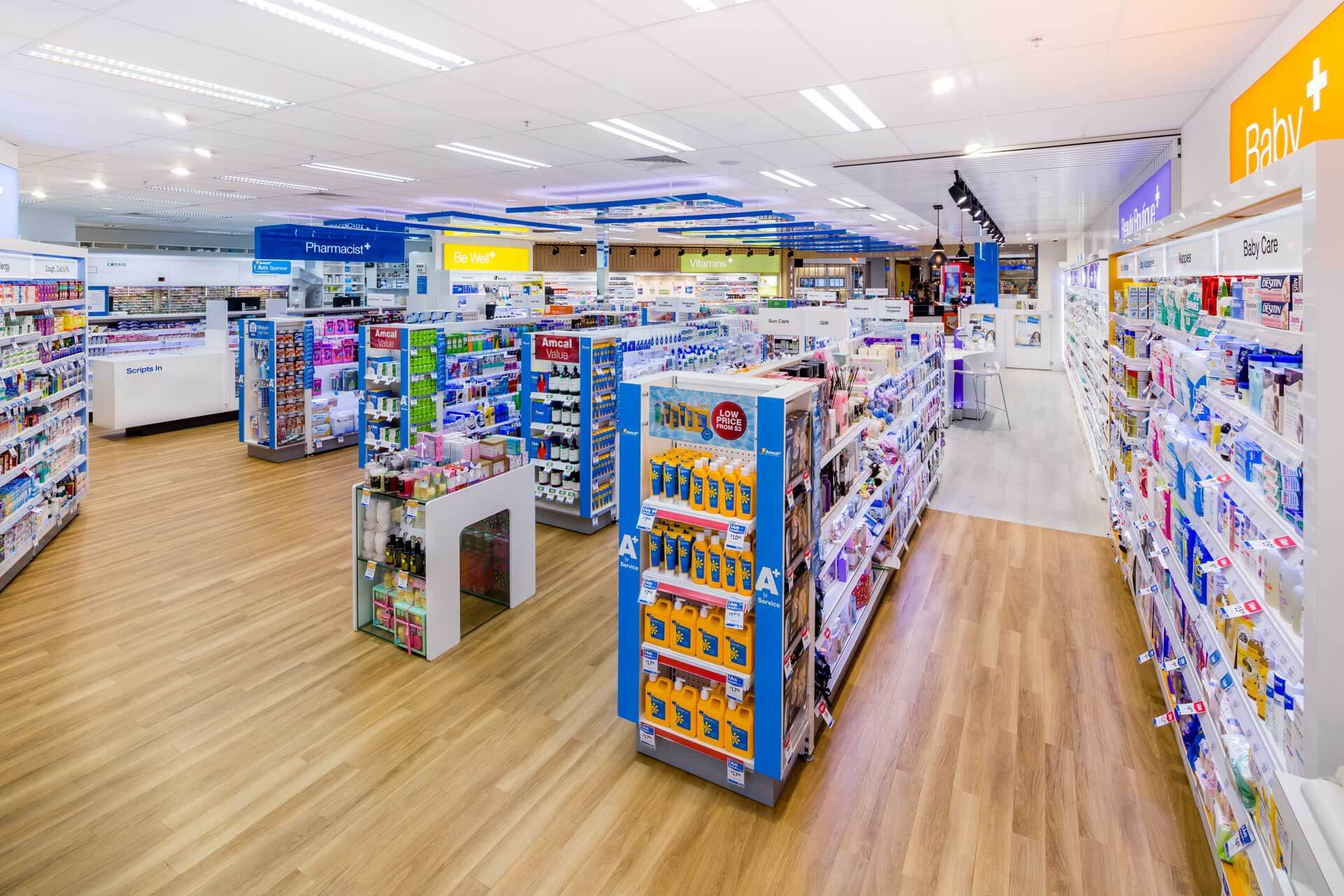amcal+ pharmacy internal photograph of baby product area and overall store by sigma pharmaceuticals in stud park shopping centre