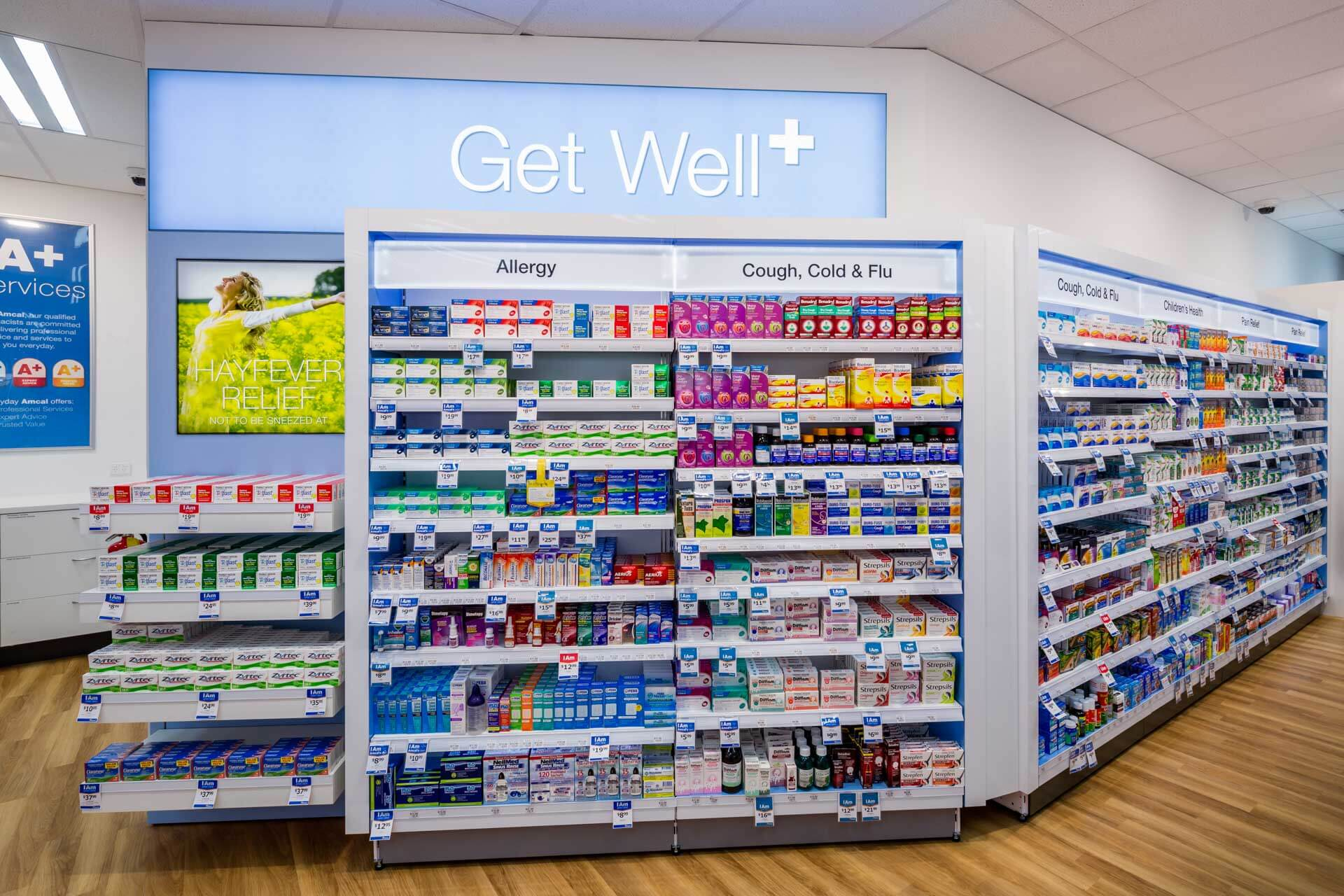 amcal+ pharmacy internal photograph of Get well product area by sigma pharmaceuticals in stud park shopping centre
