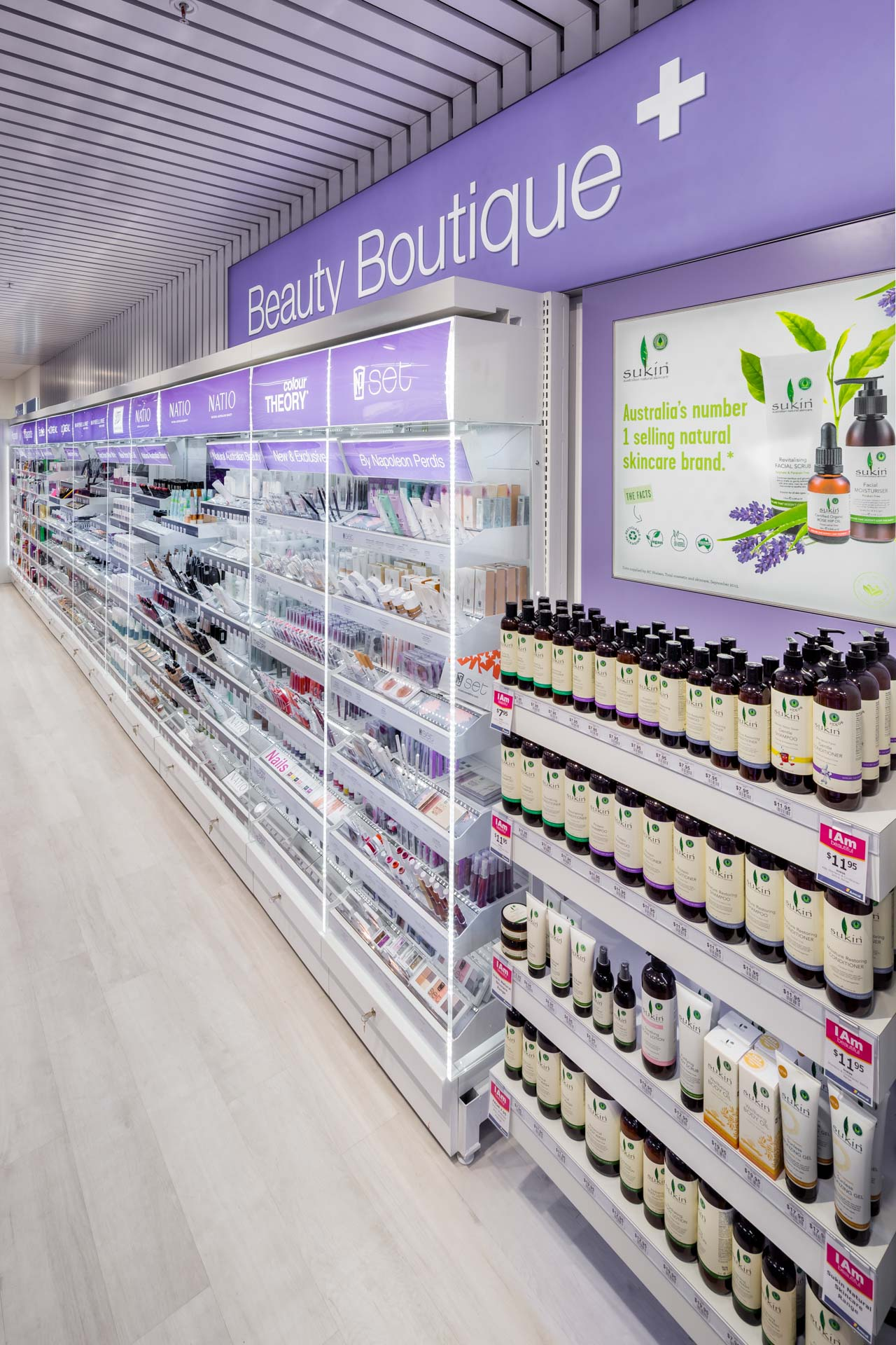 amcal+ pharmacy internal photograph of beauty products by sigma pharmaceuticals in stud park shopping centre