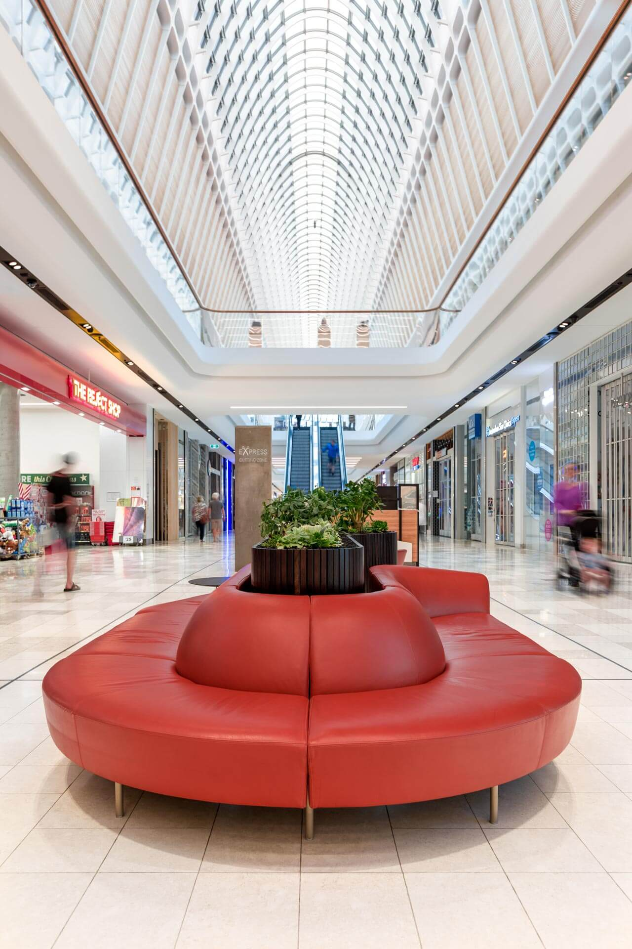 custom design red furniture seating unit in eastland shopping centre walk ways