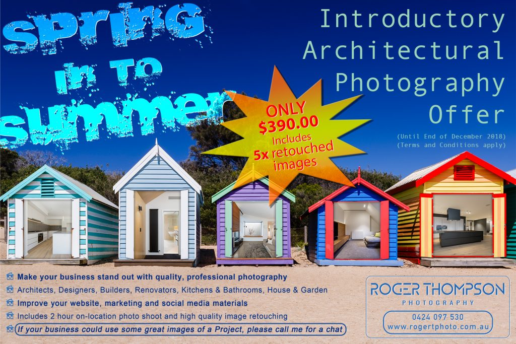Introductory client photography offer, brighton beach boxes melbourne, sales flyer, photographer sale offer