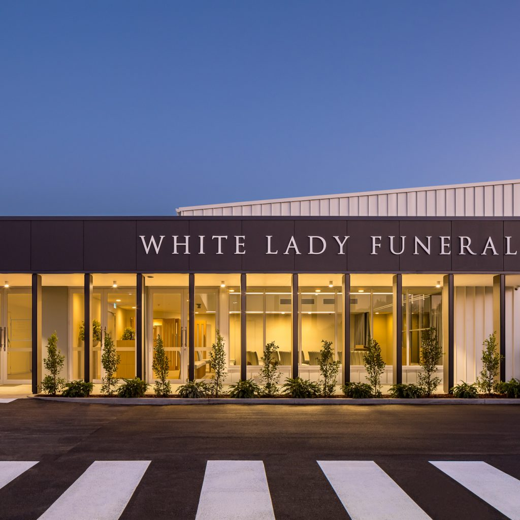 Le Pine and white lady funeral home rear view dusk exterior photo by Roger Thompson Photography Melbourne