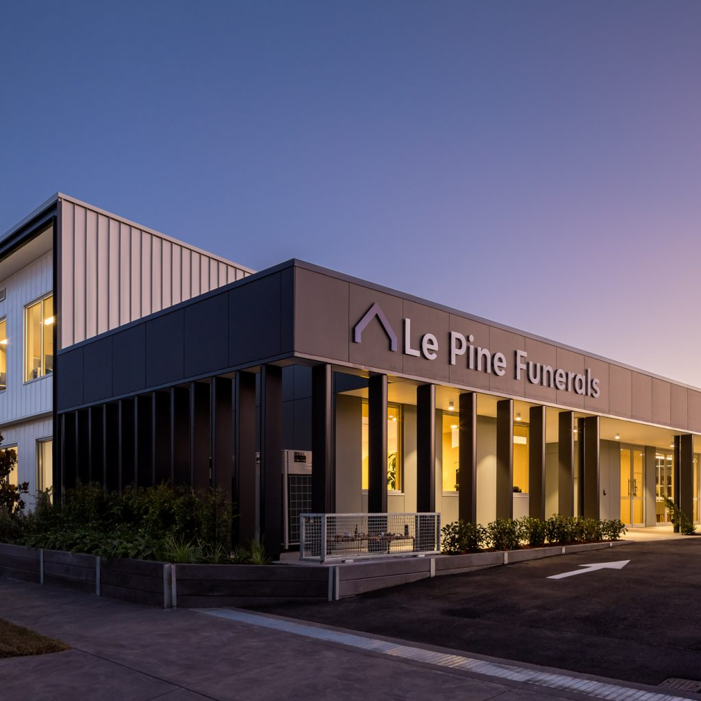 Le Pine and white lady funeral home  rear side view dusk exterior photo by Roger Thompson Photography Melbourne